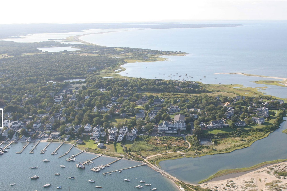 Aerial View of the house and Edgartown Harbor looking West