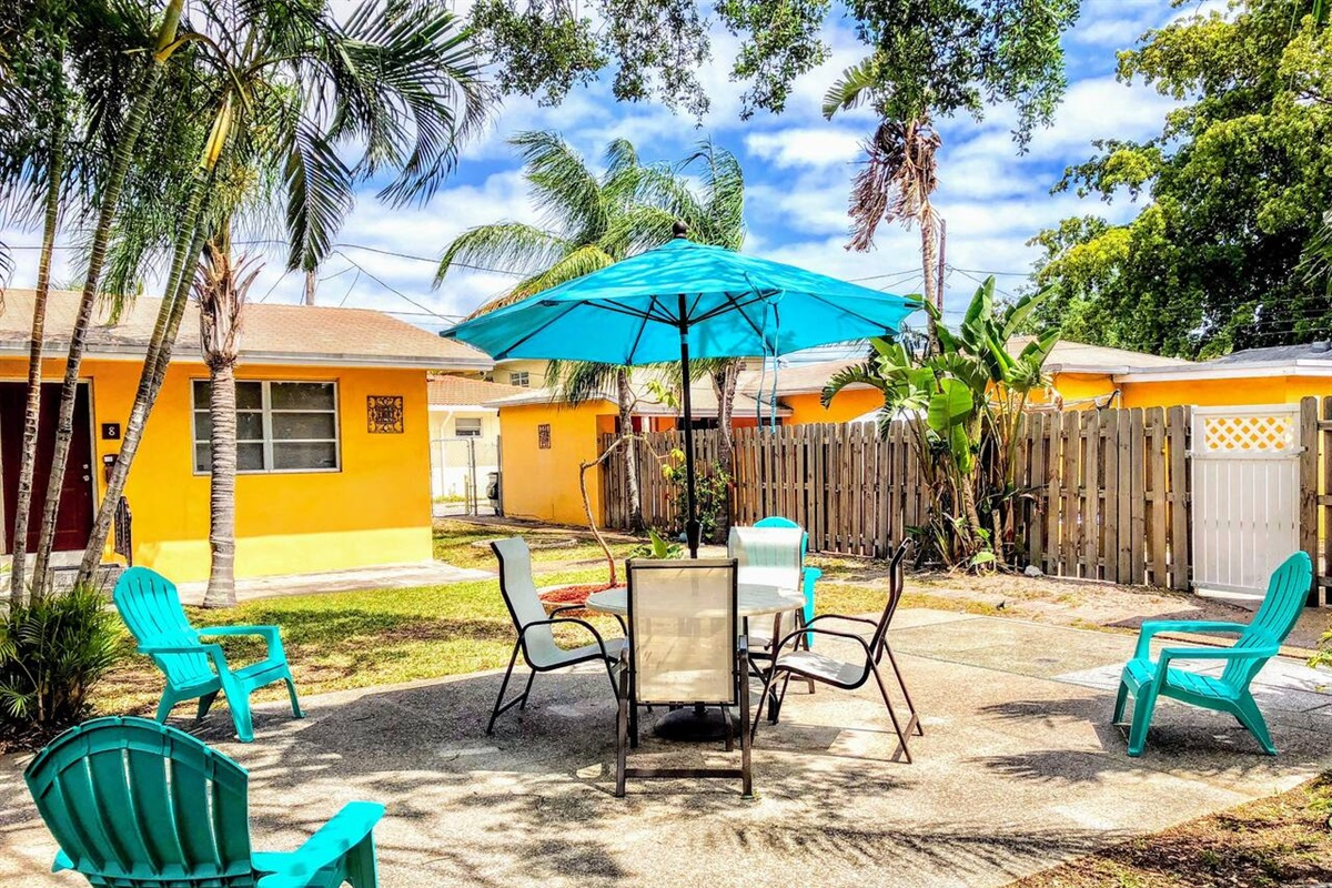 Lounge at our private patio for guests and residents.