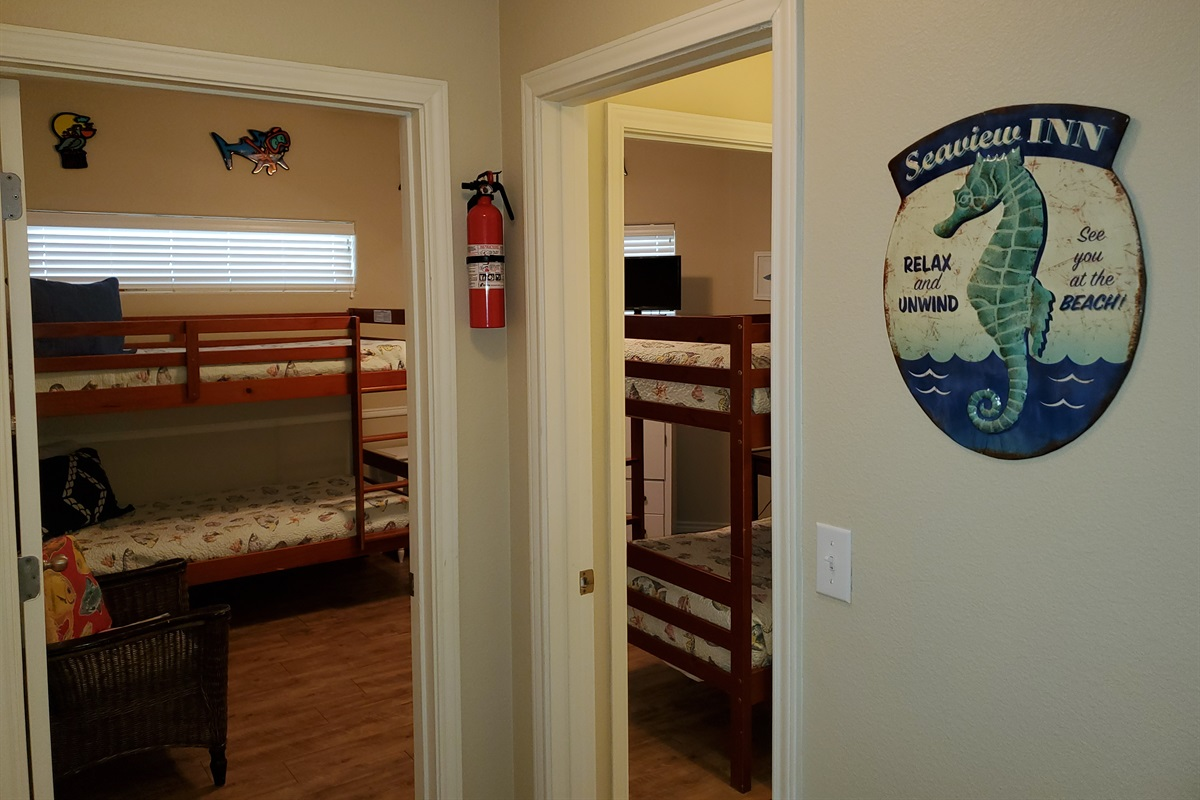 Bdrm #4 w/ 4 twin bunks, private access to downstairs full hall bath & cable TV
