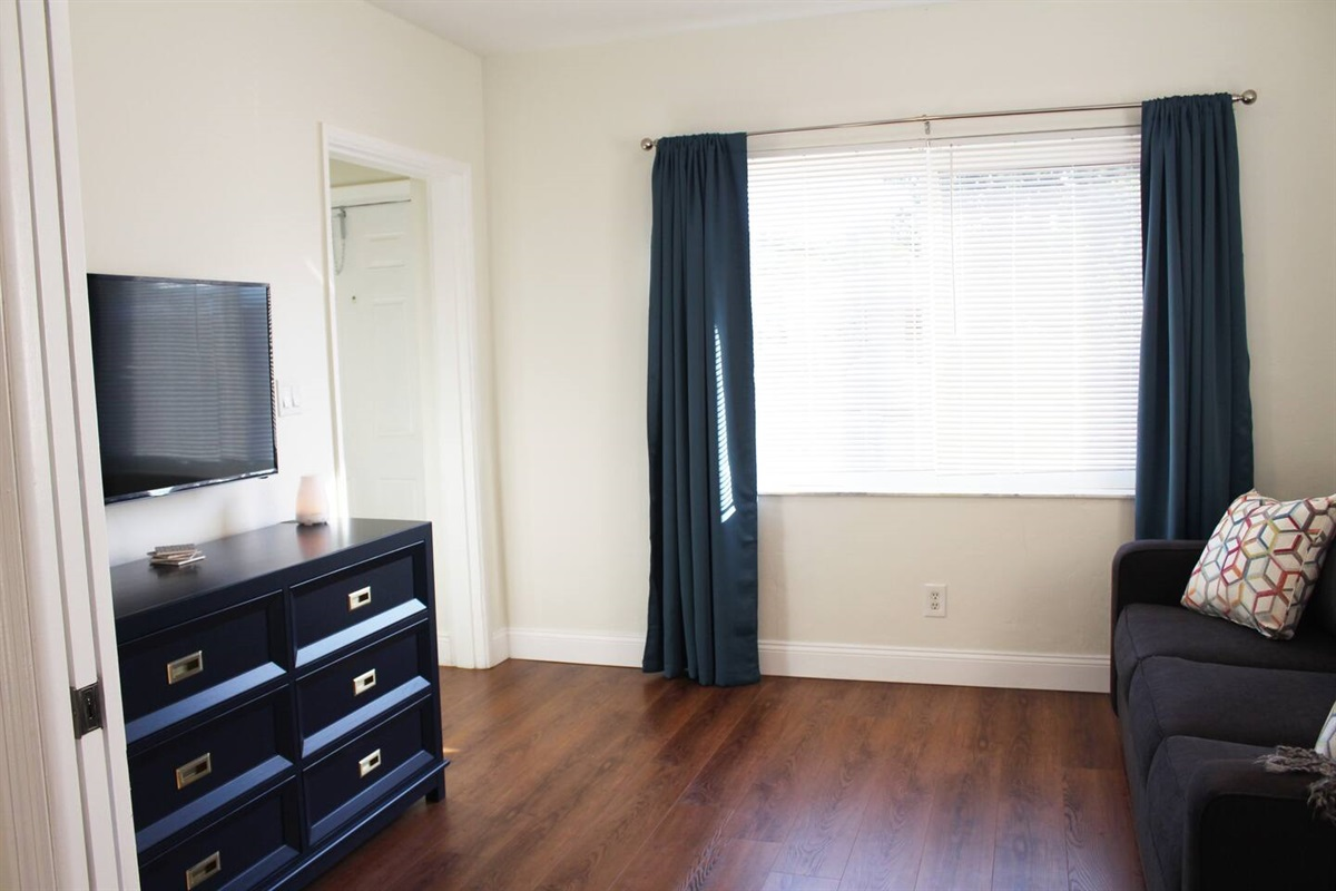 The den, or third bedroom, viewed from the living room with pocket doors opened. Queen sized sofa bed couch, Roku TV and 6 drawer dresser.