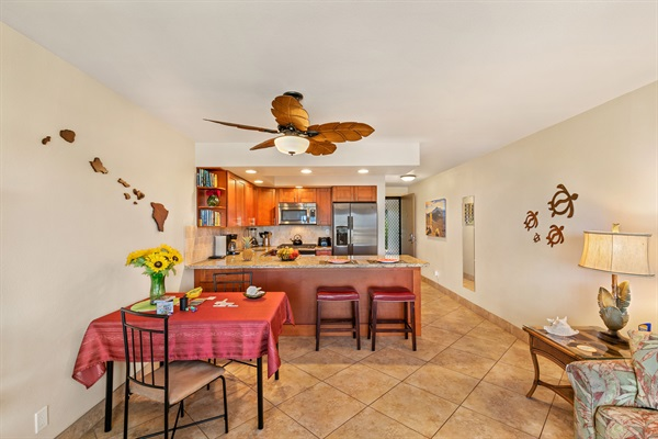Dining for 2 at table; or at the kitchen countertop on bar stools