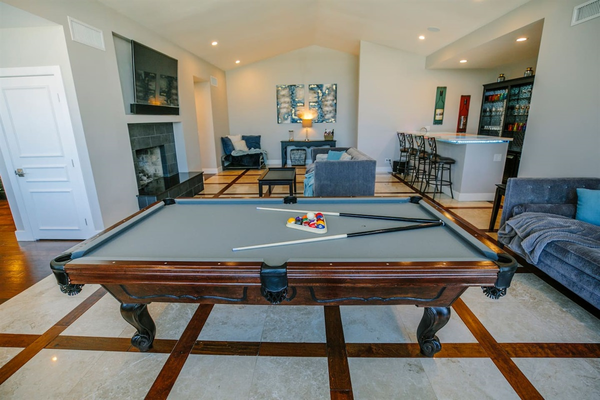 Play a game of pool while relaxing with friends and family!