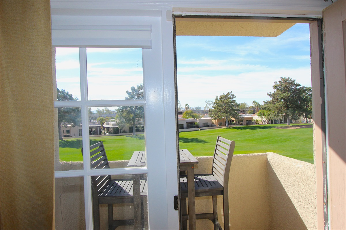 View of golf course from the master bedroom.