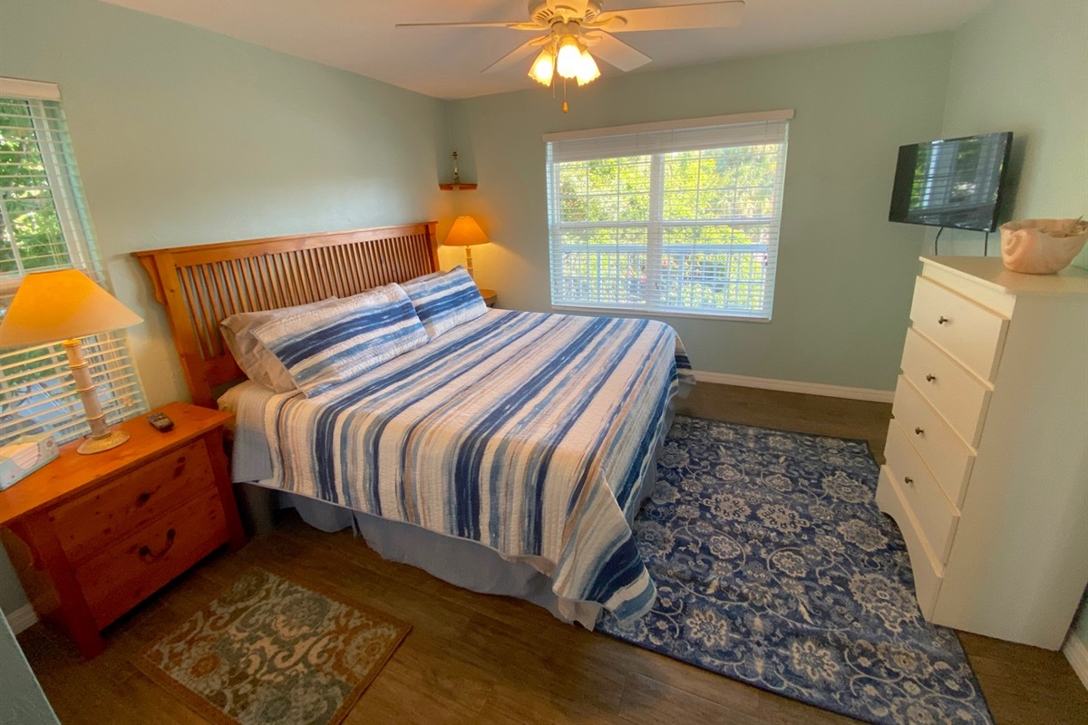 Spacious master with king bed and tv