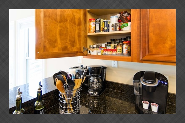 Fully stocked kitchen, so you don't have to pack every single thing you need. We have both a regular coffee pot and a Keurig.