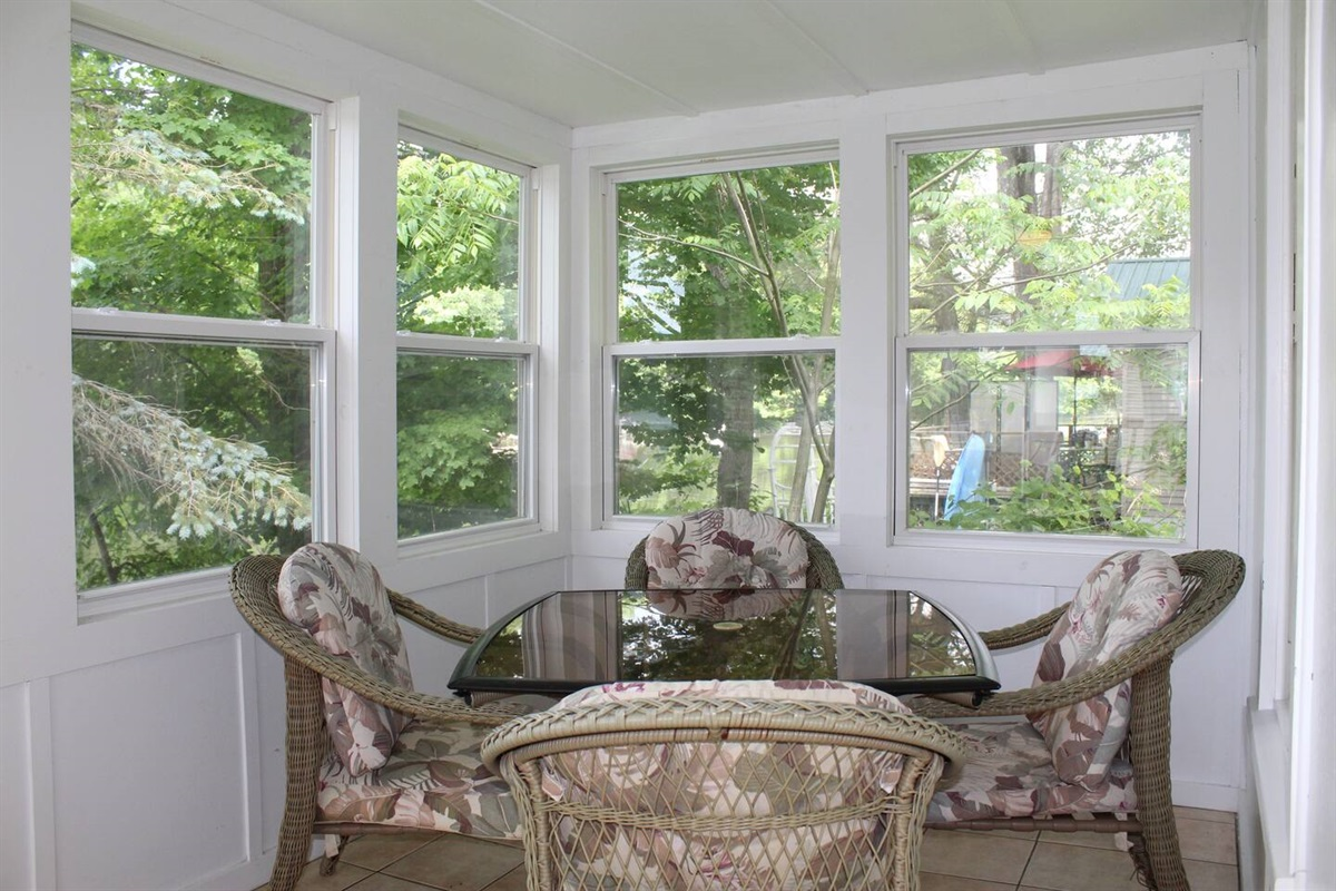 Relax on the 3 season sun porch with your morning coffee or a cocktail while the sun sets!