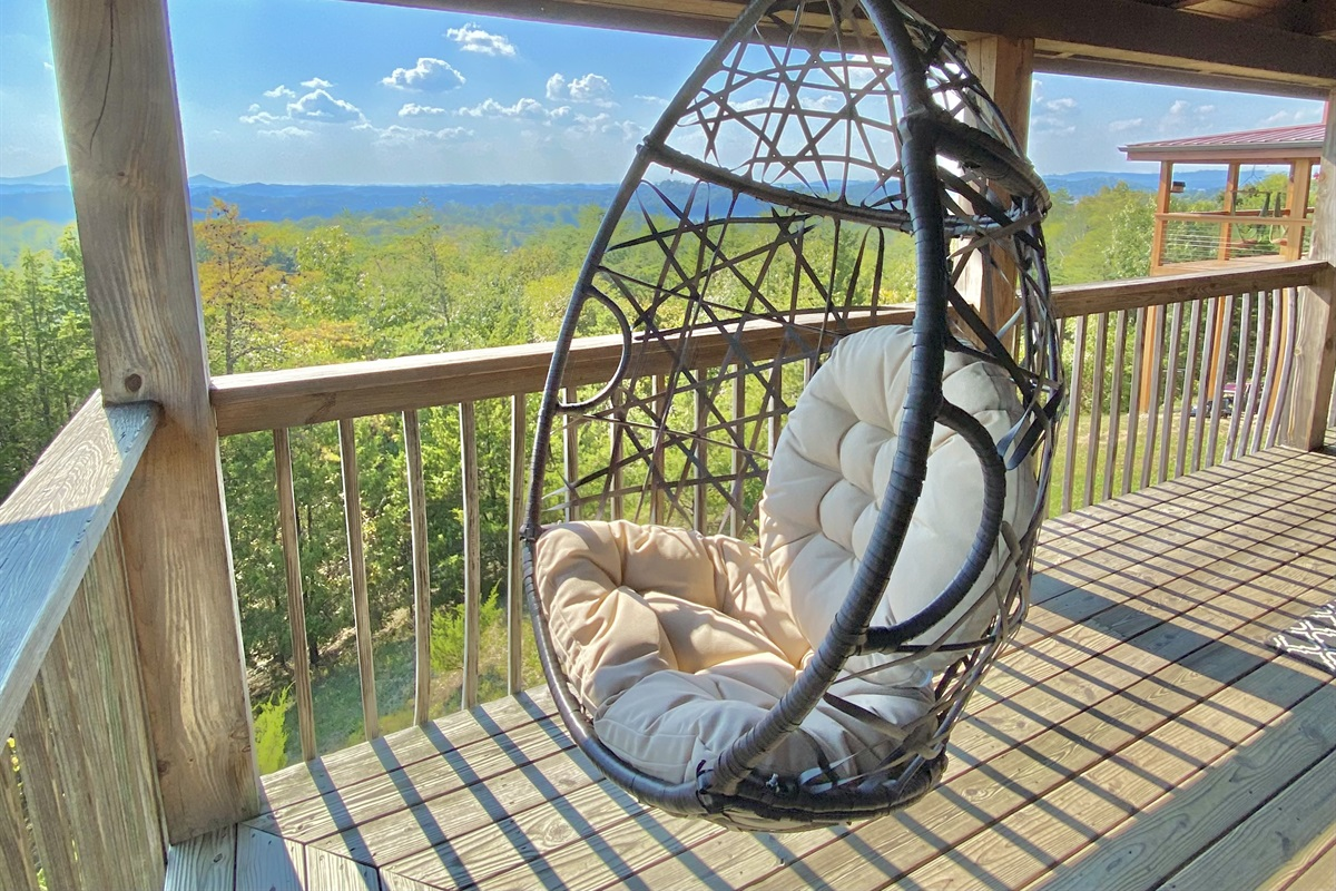 Sit back and relax in a swinging chair.