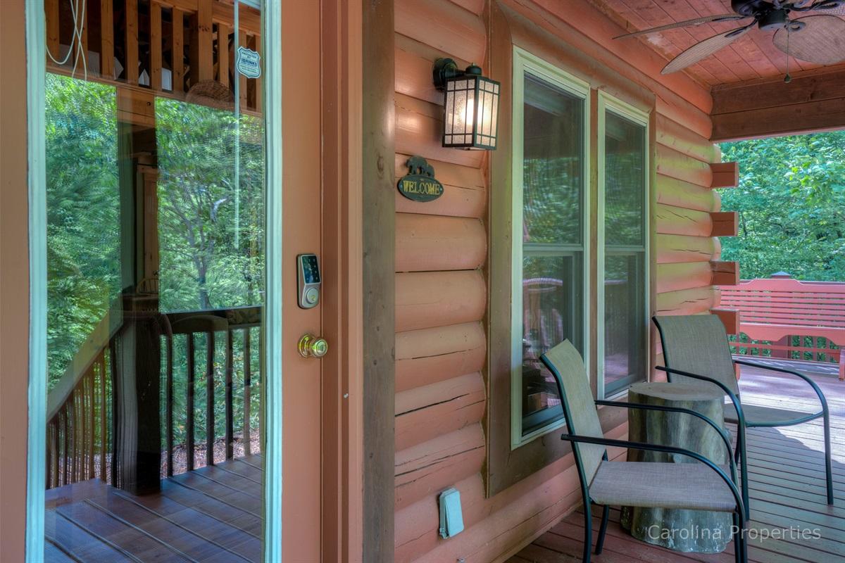 Front door leading into Three Bears Cabin