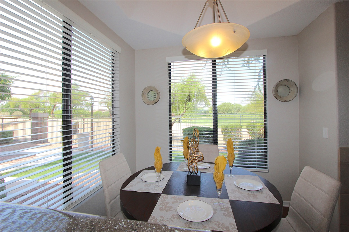 Dining area with golf course views.