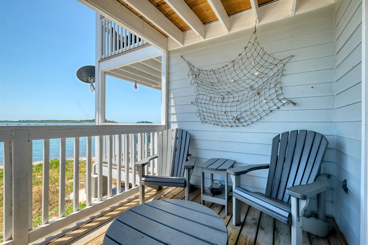 Sip your coffee on the private porch