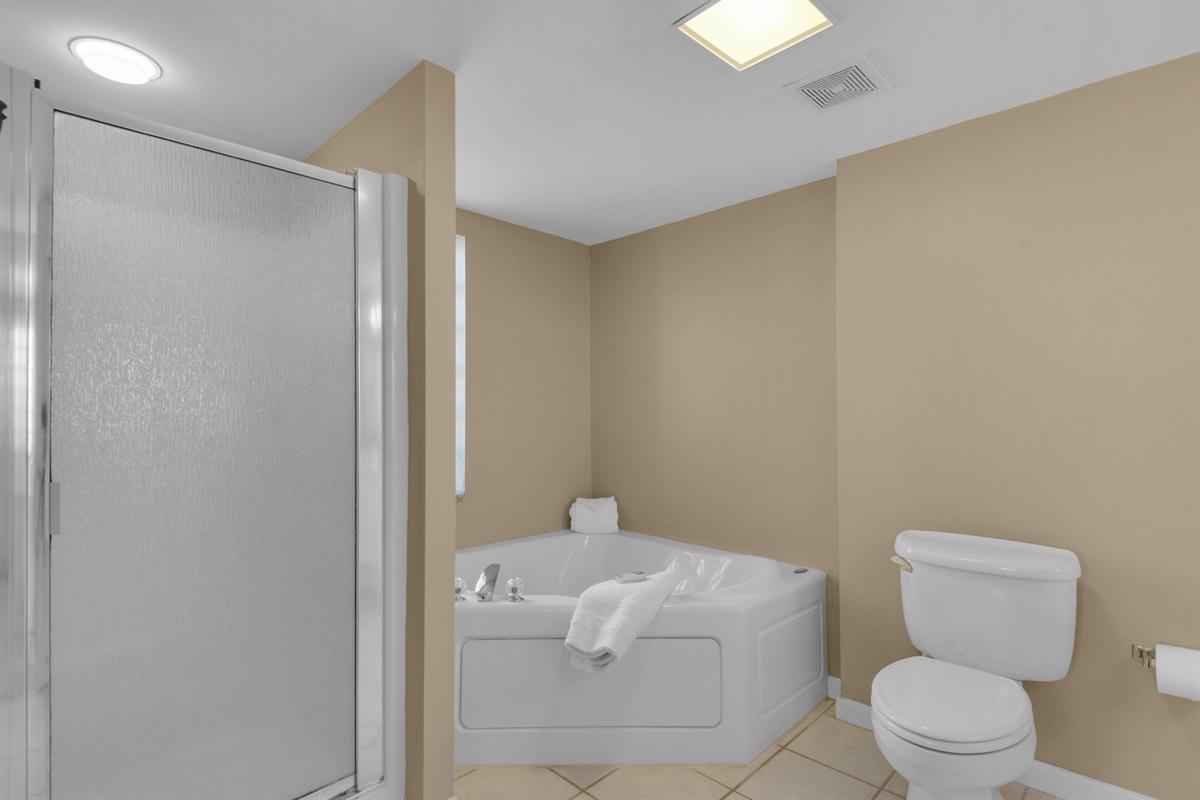 Walk-in shower & jacuzzi tub in master bathroom