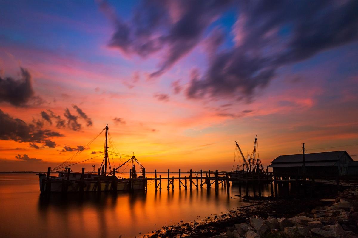 Shrimp Boats - Downtown Sunset