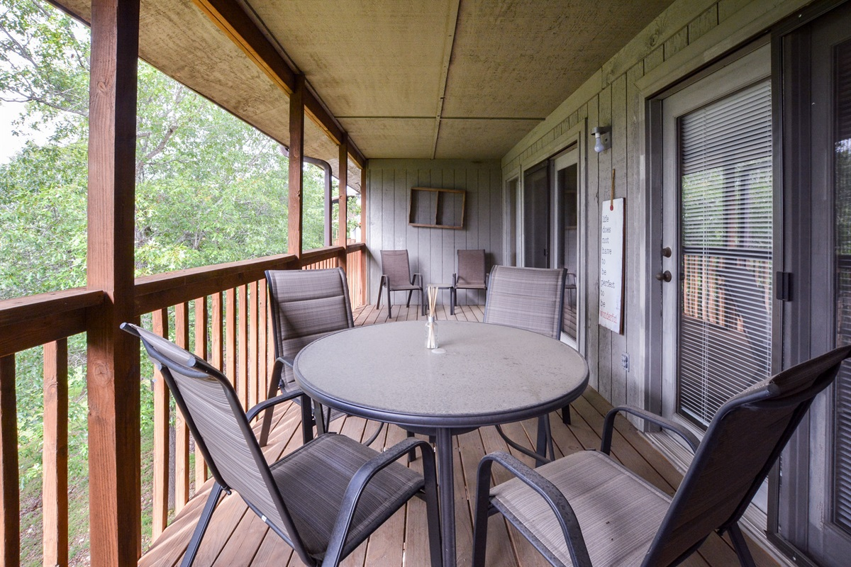 The private deck has tons of room for sitting and enjoying the view