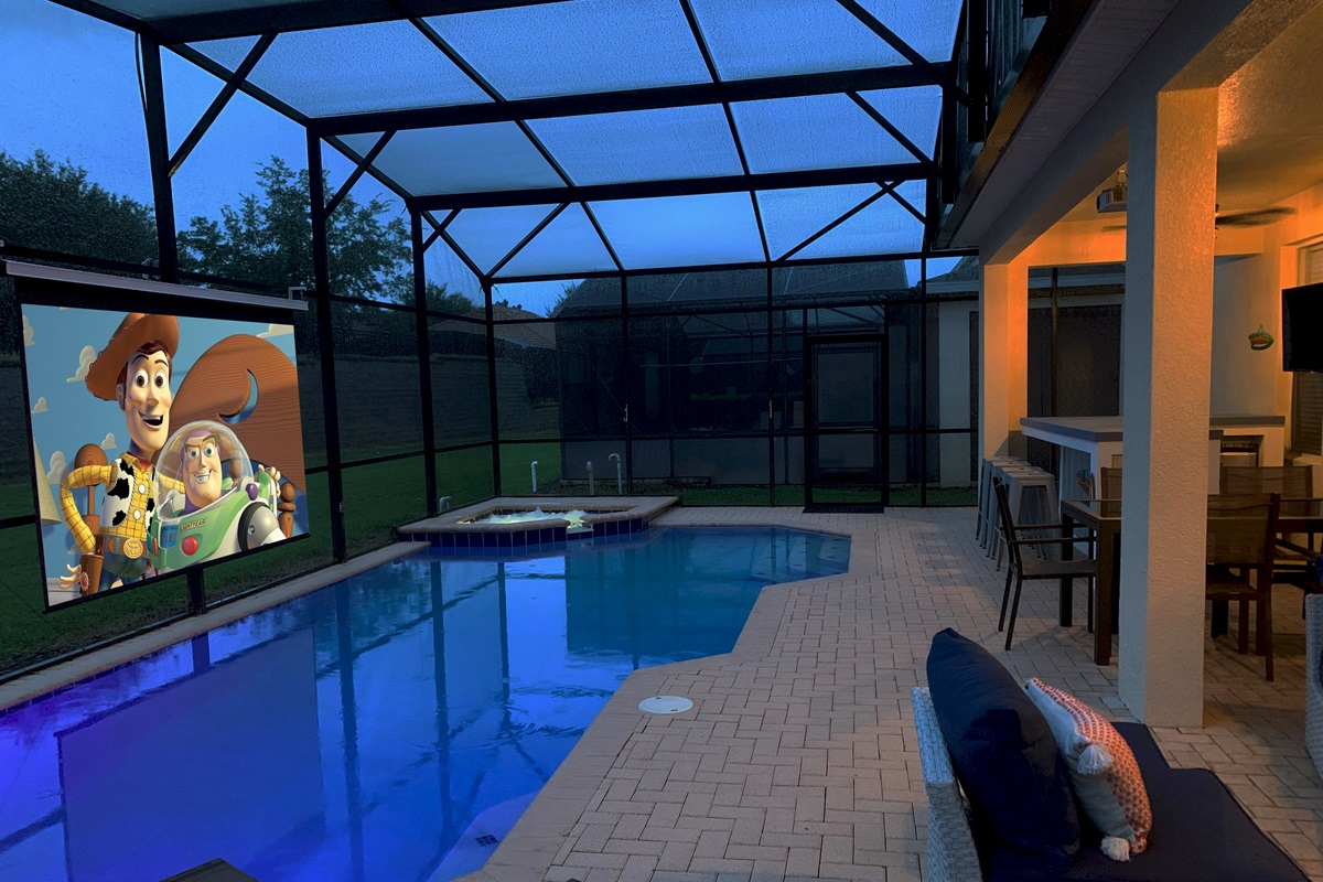 Then...To Add To Your Fun Watch Movies Poolside At Night