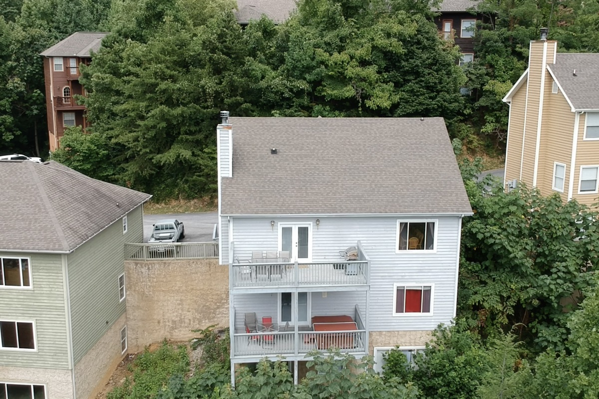 Aerial view of the rear of the home