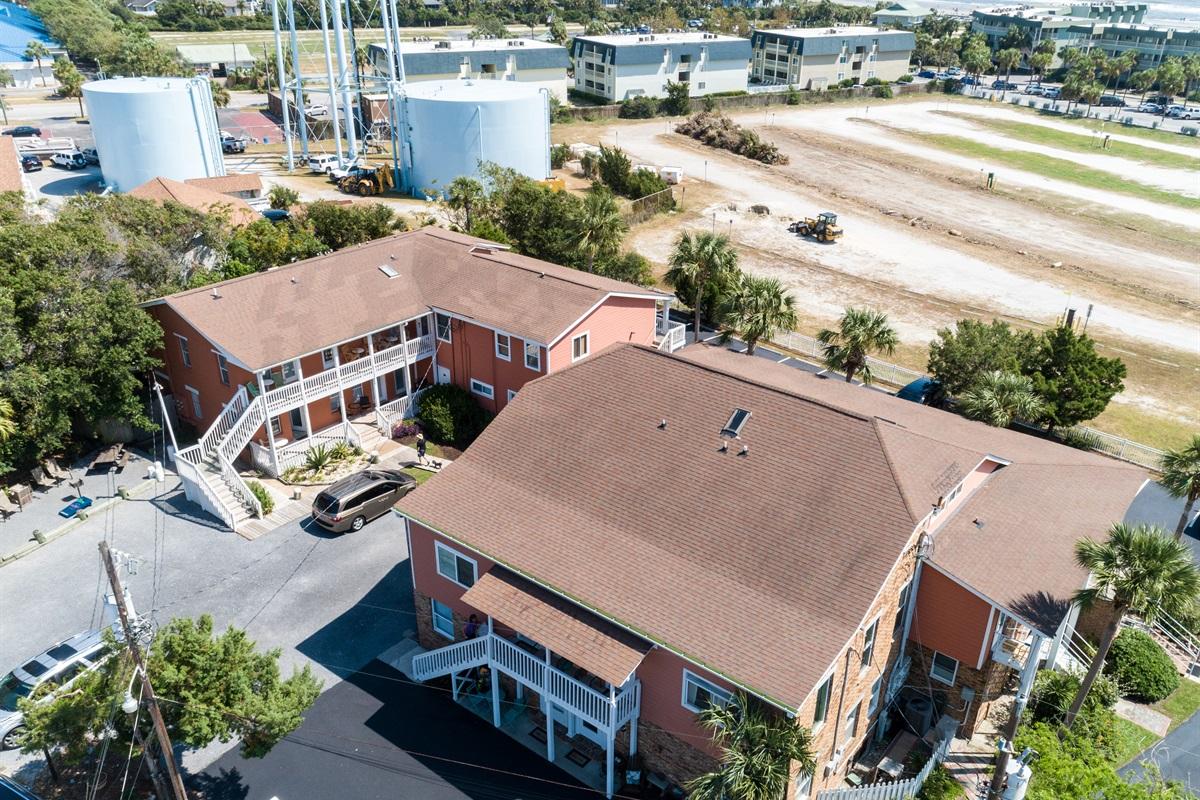 Unit 110 is int he left building, 1sr floor, center