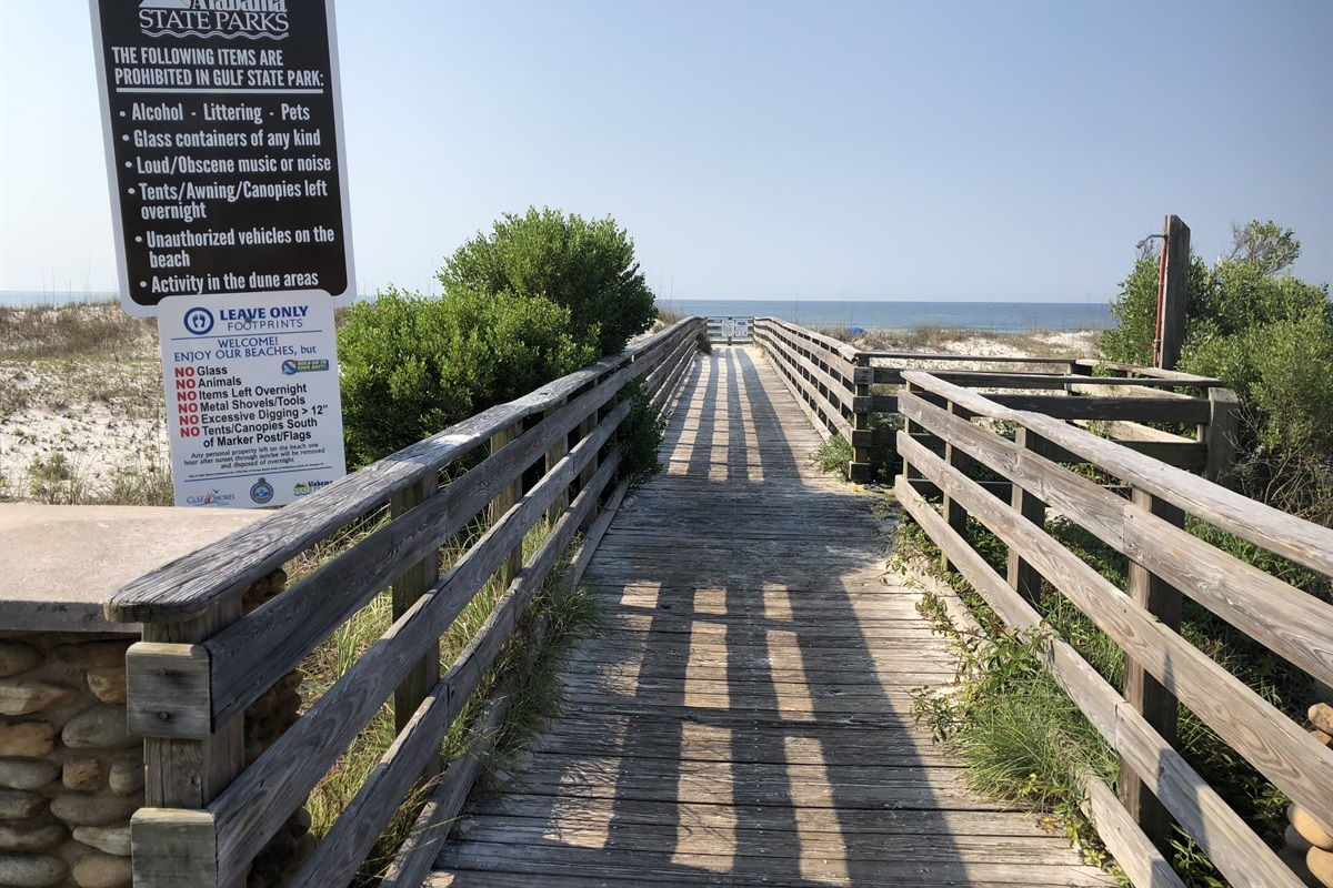 Boardwalk & Outdoor Shower at Cotton Bayou Public Beach Access