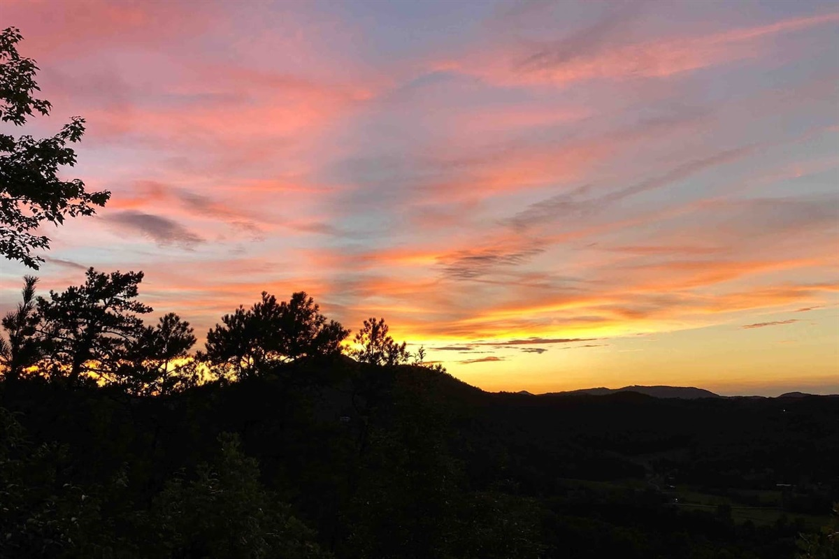 Amazing sunset views from the cabin