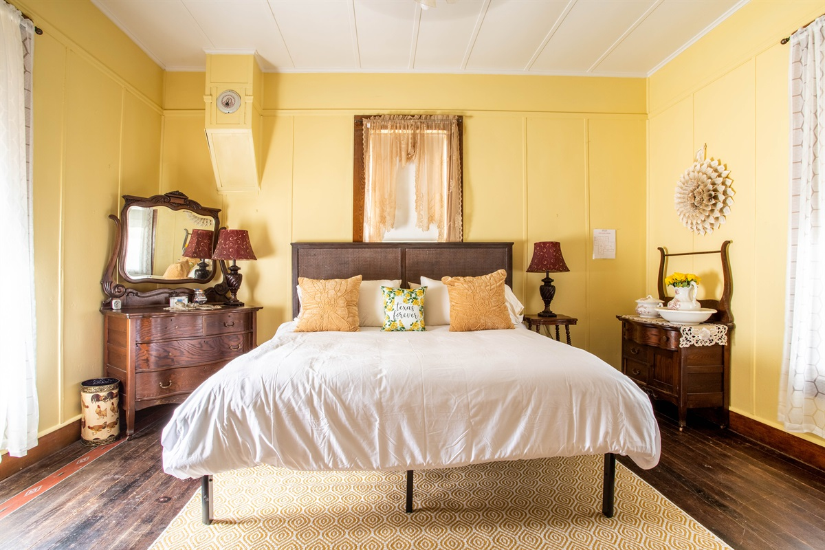 Snooze in the Yellow Rose room (king bed!)