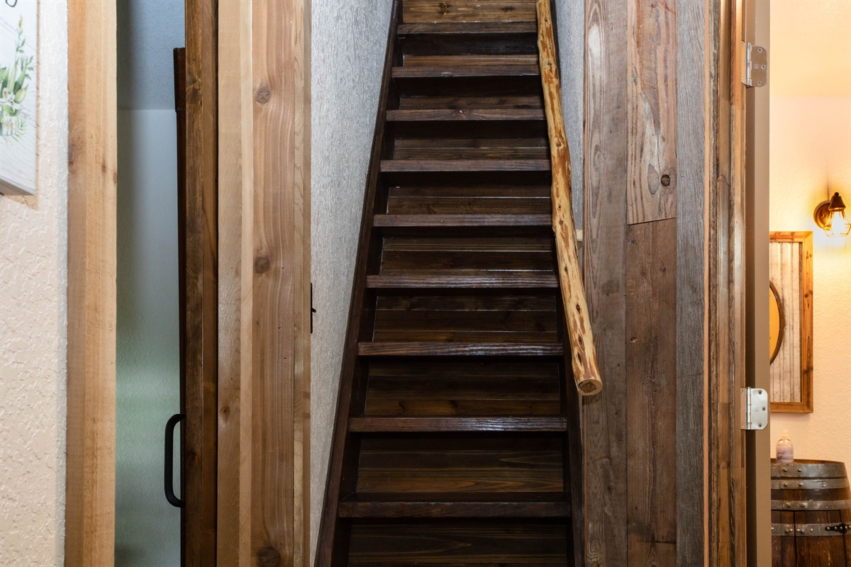 Stairs to upstairs beds - careful, they're steep!