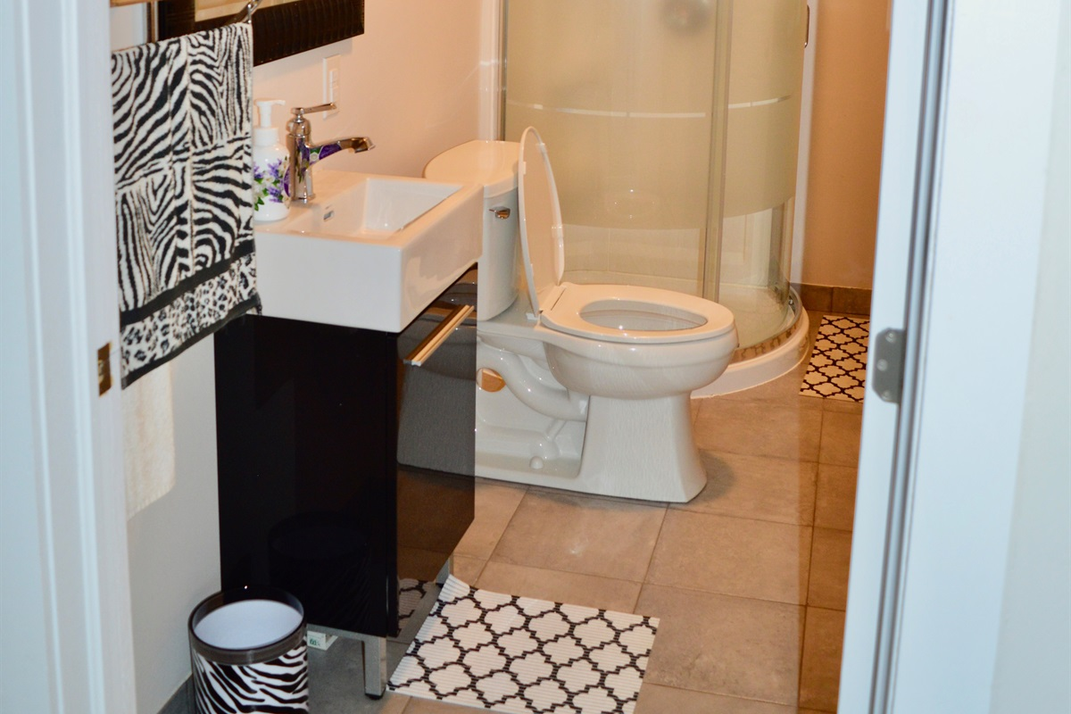 Bathroom 1, accessible from bedroom and living area