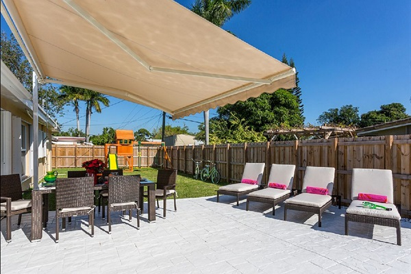 Our Electric Awning for a Pleasant Time from the Hot Florida Sun or Furious but Quick Rainfalls