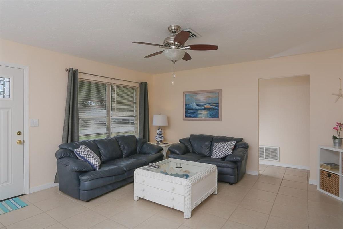 Nice leather living room area