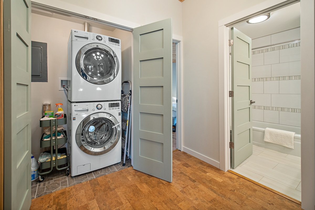 A handy Washer/Dryer is yours to use, along with plenty of detergent and extras.