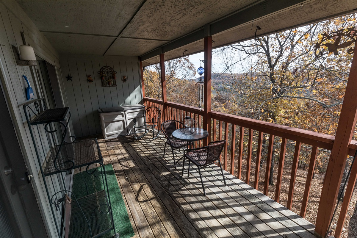 Our expansive deck has a gorgeous view of the Ozark Mountains!