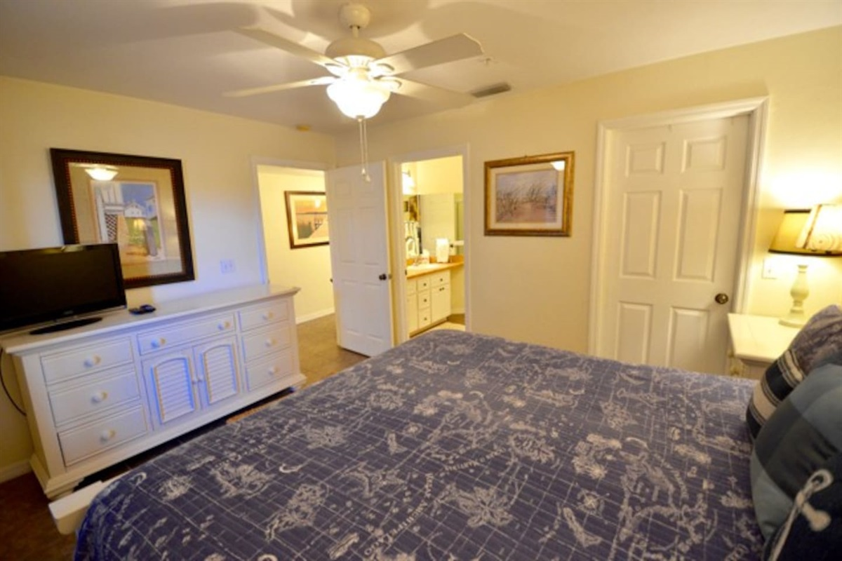 Easy access to bathroom and full dresser