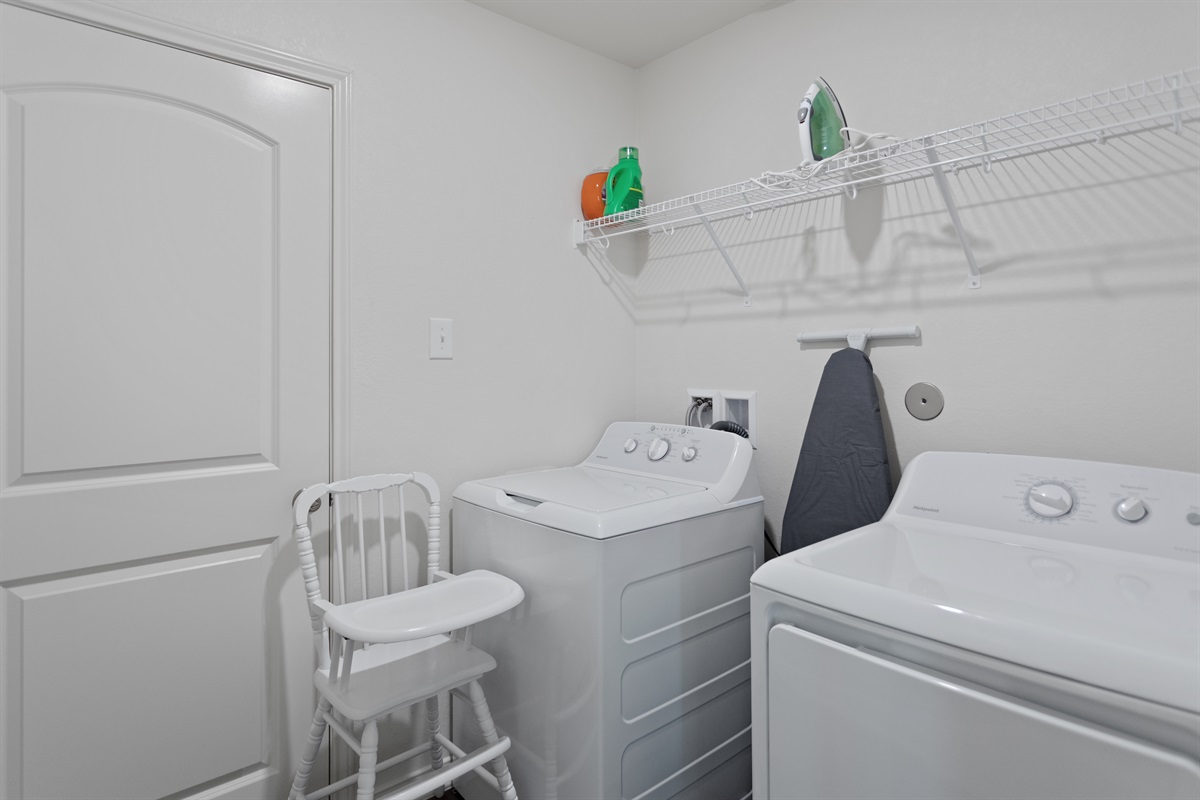 Washer + Dryer. High chair available