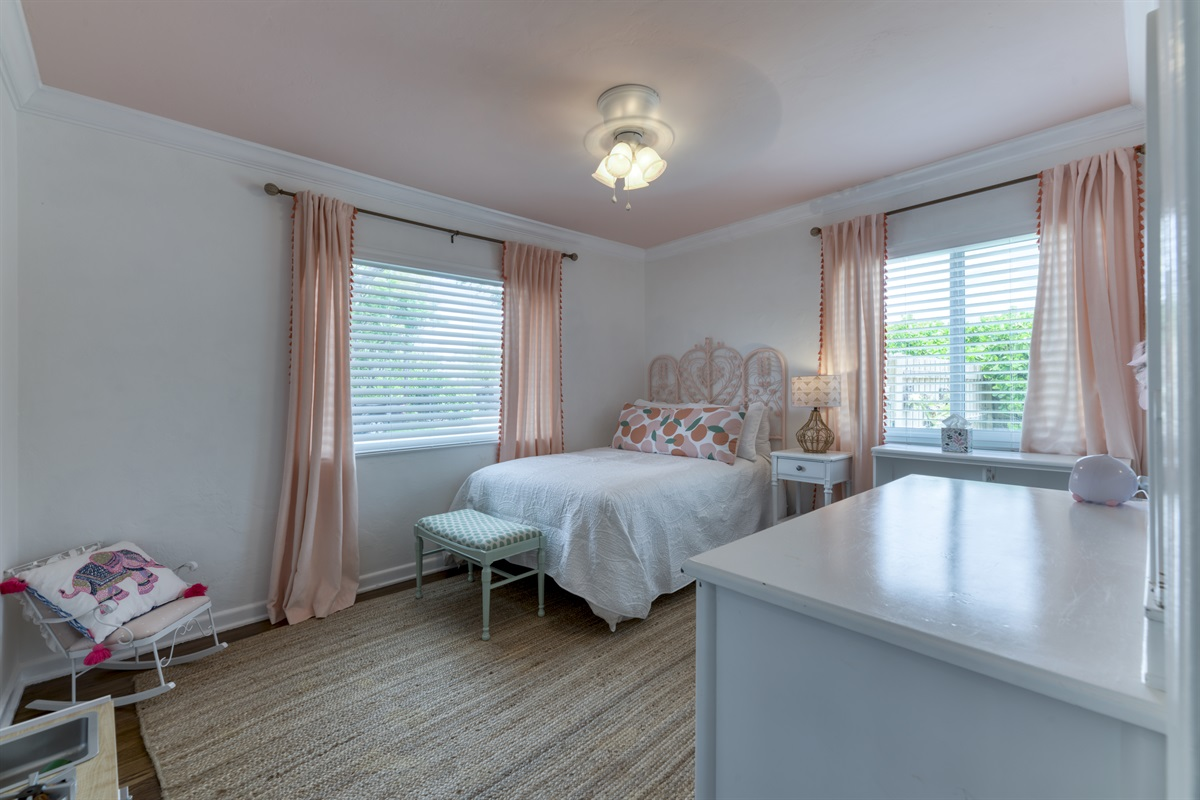 2nd Bedroom with Full Bed, dresser with mirror and closet space. Wonderful room for a child.