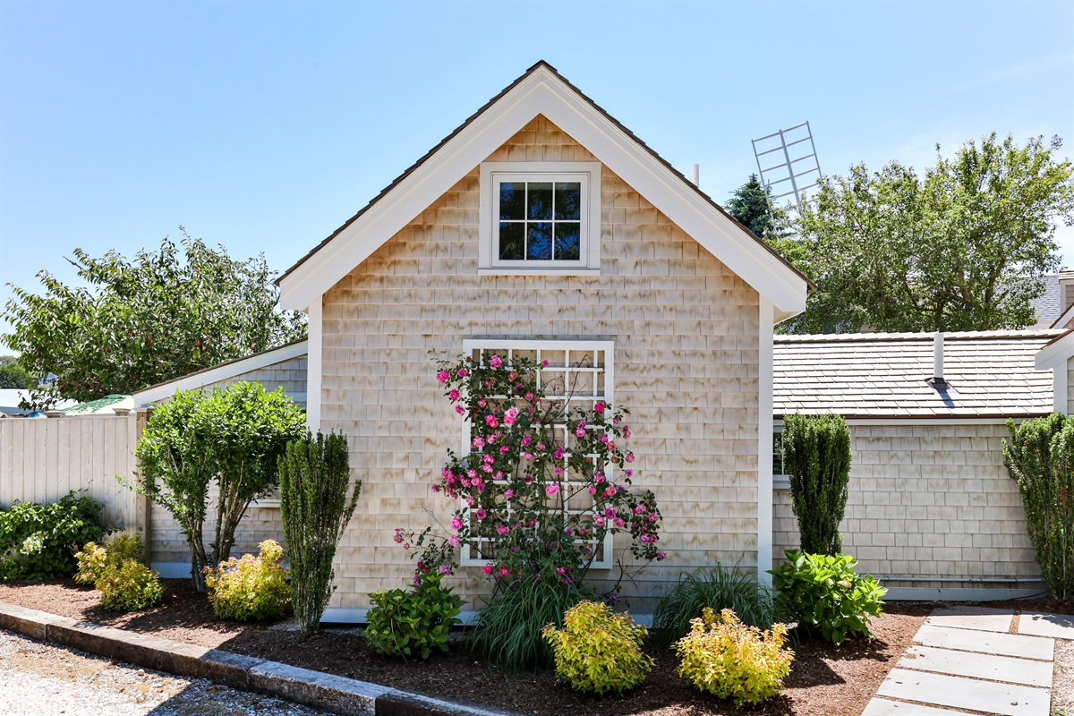 Climbing rose on a trellis on the rear of the Artist Cottage. Property is extensively landscaped and impeccably maintained with in-ground irrigation and numerous flowering trees and shrubs.