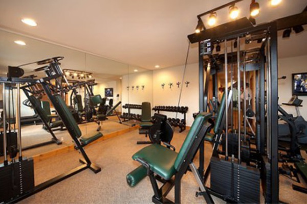 Exercise room has free weights