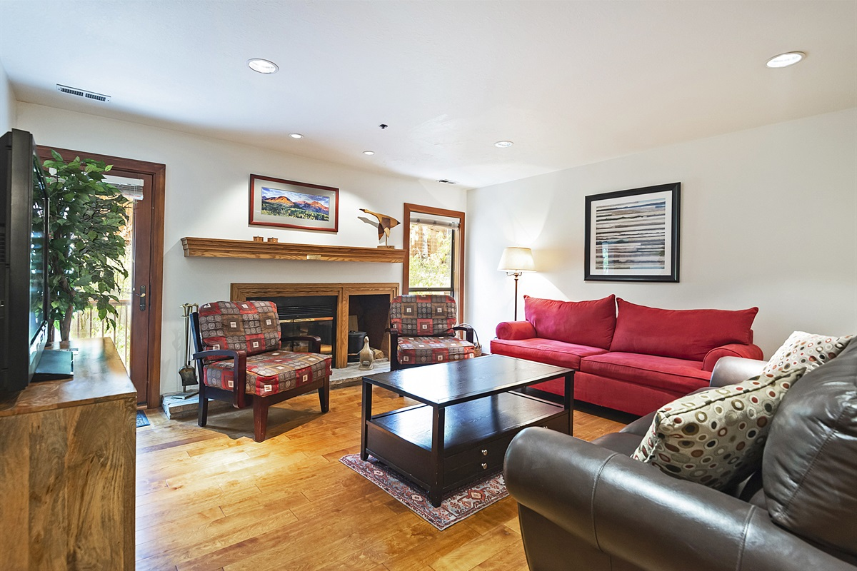 Living area with queen sleeper sofa and wood burning fireplace