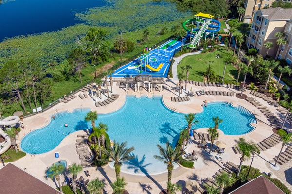 Community pool, water park and slides