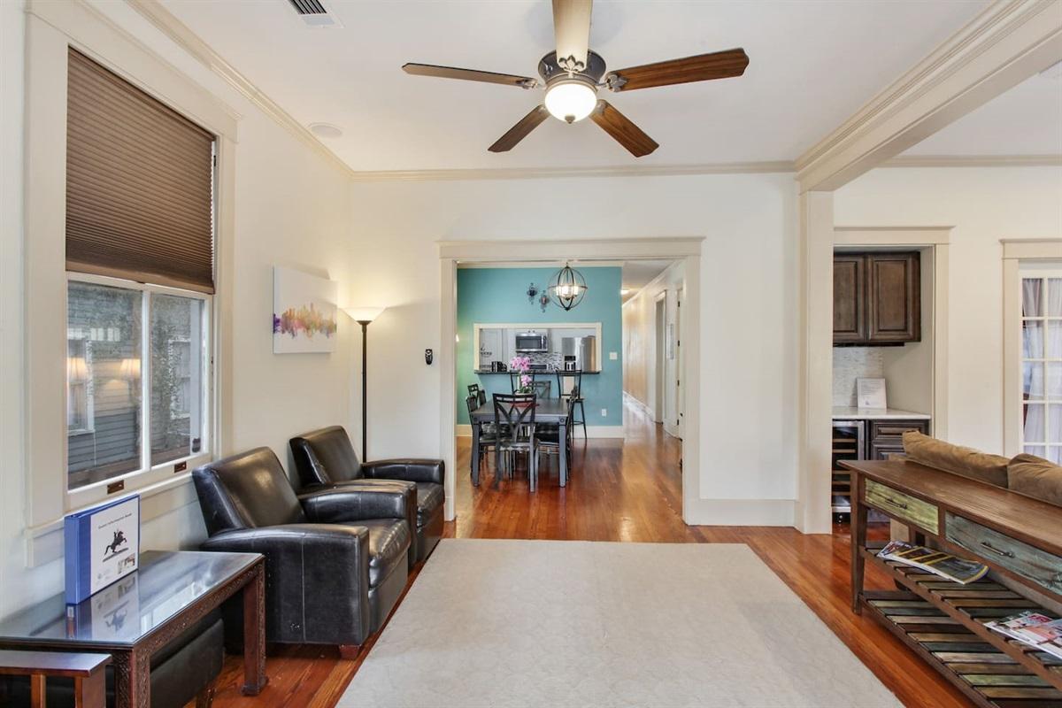 View from the door through dining room, kitchen, hallway.