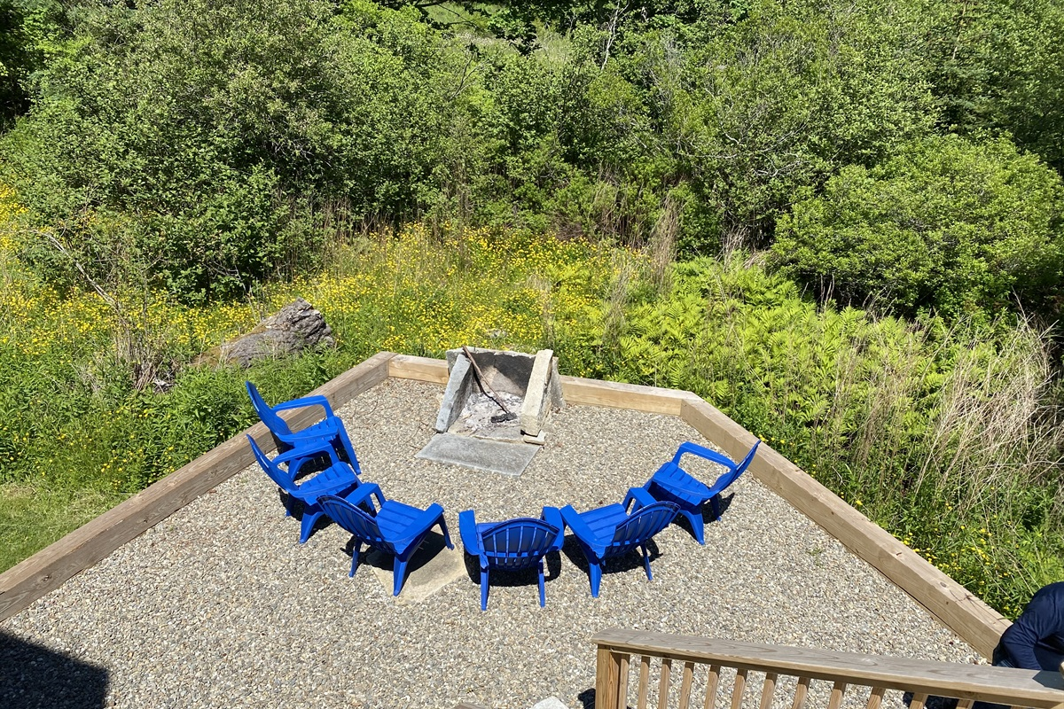 View of shared firepit fro private Loft entrance