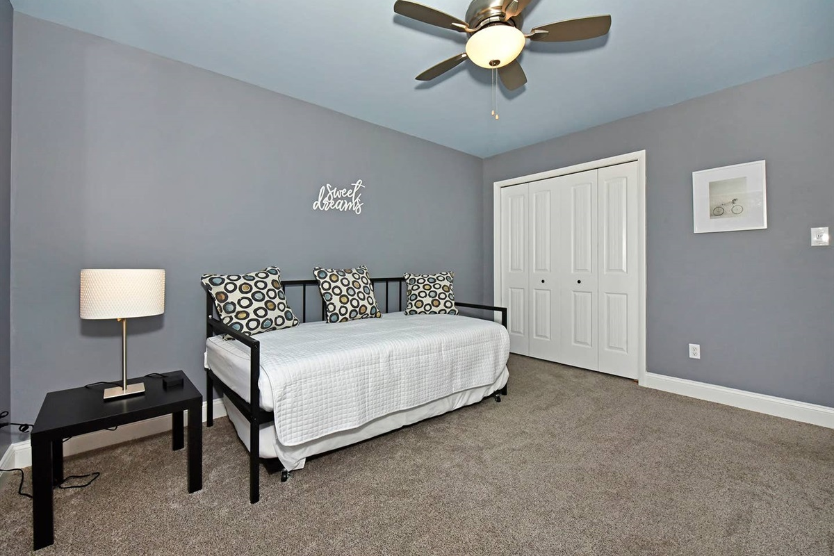 Bedroom #3 has a twin day bed with a trundle. Perfect for the kids!