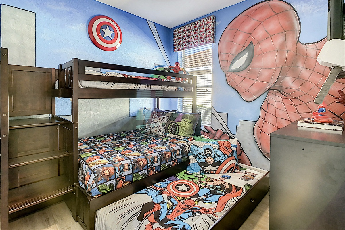 Bedroom #3 (Avenger Theme)-1st Floor-Bunk Beds With Trundle