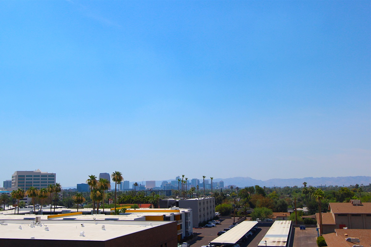 View of Downtown Phoenix. Watch planes arriving from the west.
