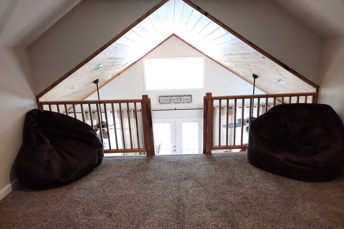bean bag chairs in the loft for the kids to relax also!