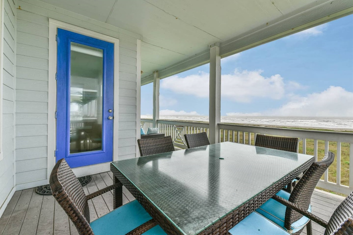 Main Balcony Offers Plenty of Seating to Relax & Enjoy the Beachfront Views