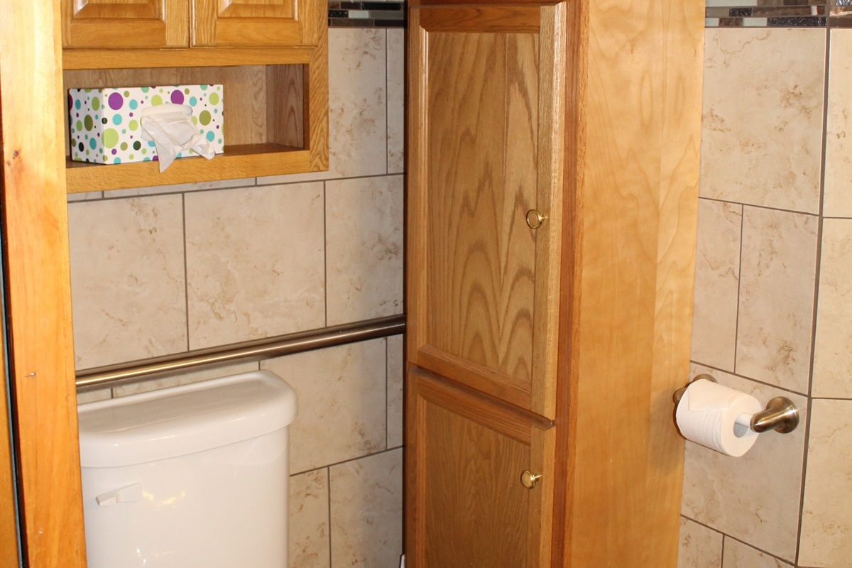 Lots of storage in the Handicapped Accessible bathroom