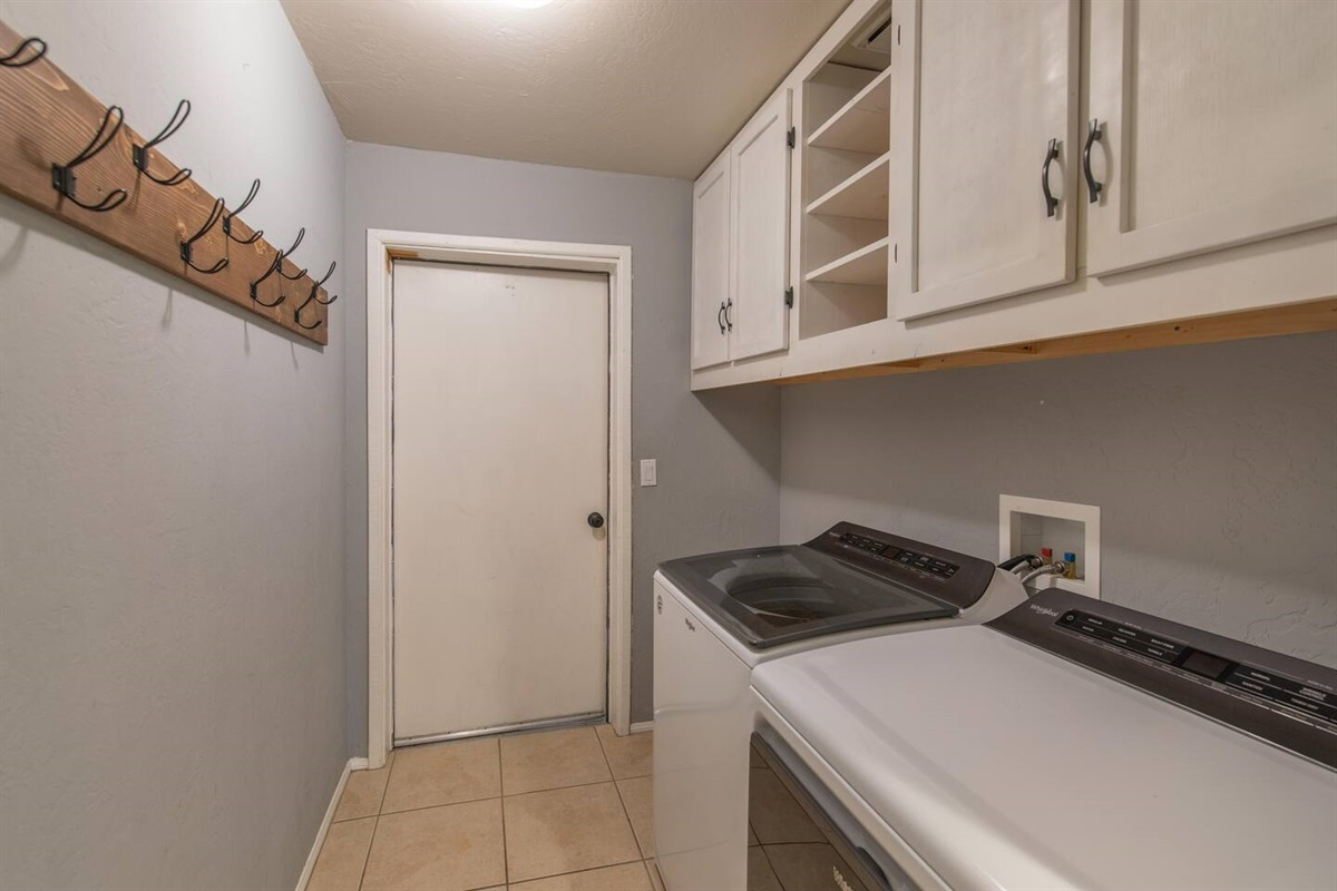 The Laundry Room has new Whirlpool full size washer and dryer for your convenience.