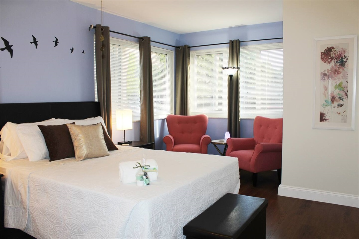 Master bedroom with queen-sized bed is made with all-Hypoallergenic, 1800 Series Hotel Collection bed sheets, LANGRIA Luxury Hotel Collection 100% Cotton Plush Pillows and a Chezmoi Collection, Austin 3-Piece Bedspread.