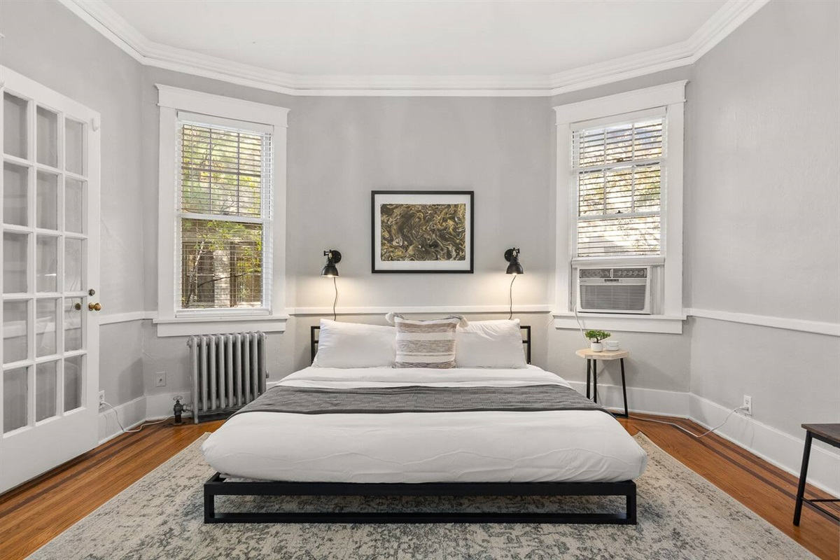Comfortable Memory Foam King  in the bedroom for a great night's rest!  Fresh linens for each stay.