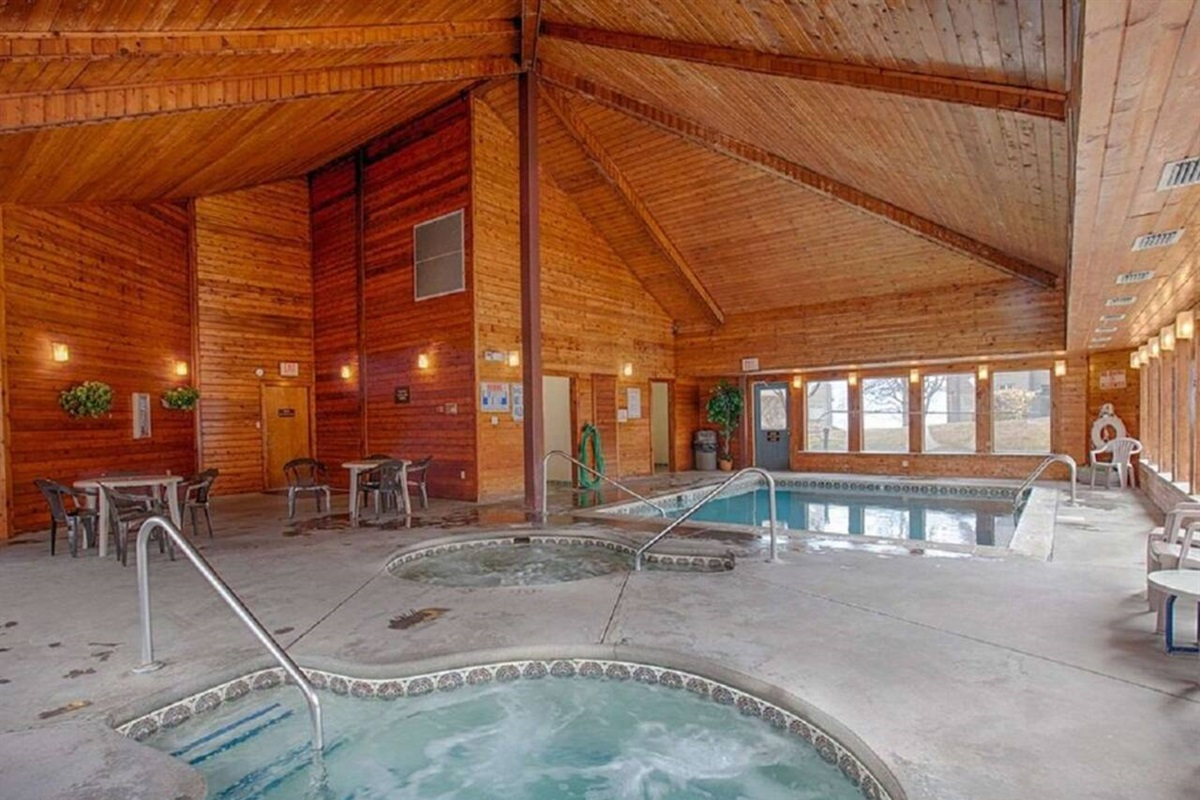 Indoor pool and hot tubs open year round