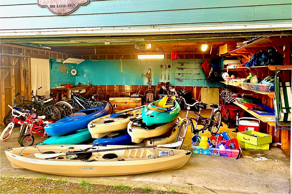 """""""The Adventure Shed"""" is full of 12 bikes, 8 kayaks, 12 fishing poles/gear, golf clubs, kids strollers, life jackets, folding table, cooler, dog crates, & outdoor games."""