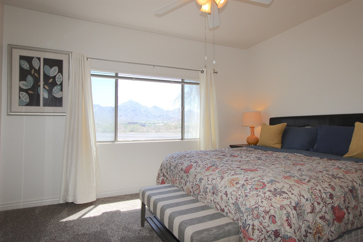 Master bedroom with views of McDowell  Mountain